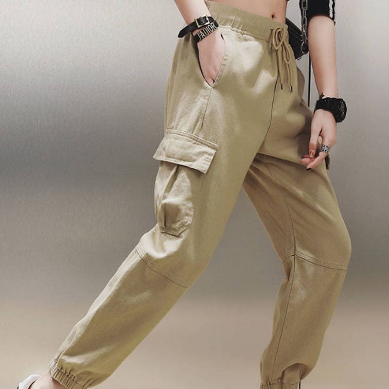 Cotton High Waist Cargo Pants 2019 Spring Pink Khaki Black Female Trousers 58