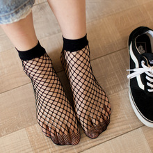 Punk Women Girls Sexy Black Hollow Out Breathable Mesh Fishnet Socks Female Gothic Stretchable Short Hosiery Ankle Socks FT079