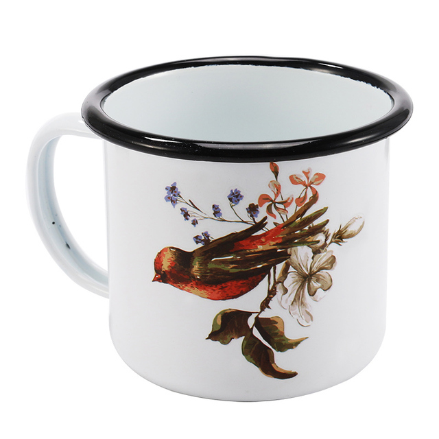 Creative Print Enamel Coffee Black Roll Rim Mug Cup 350 ml