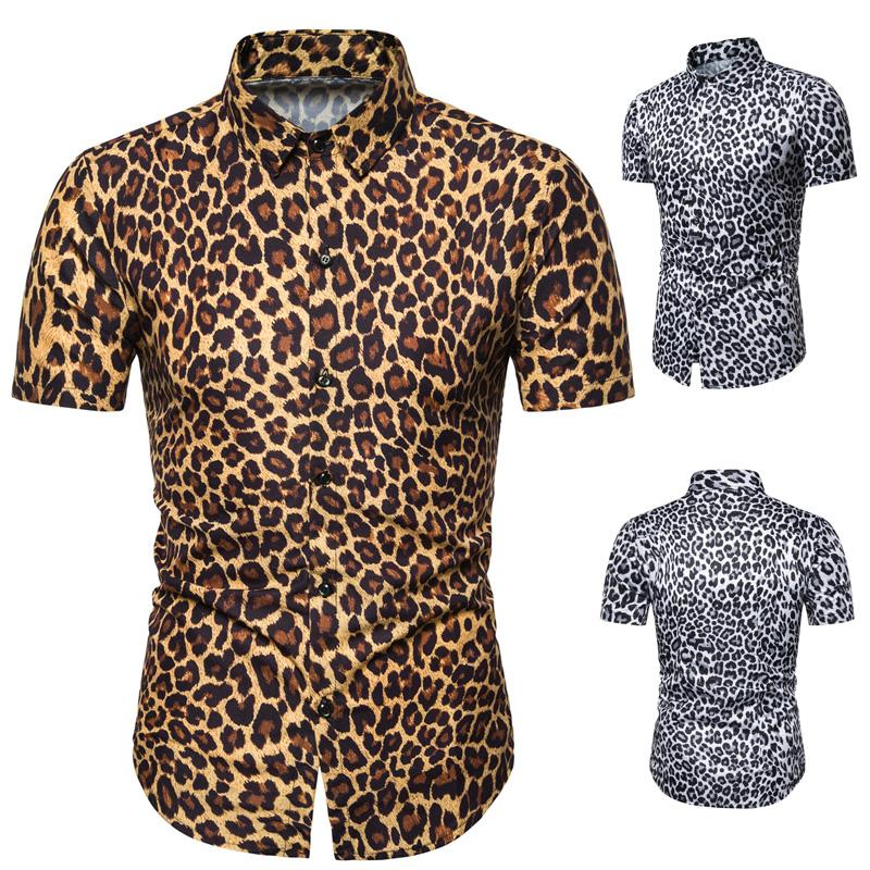Leopard print Short sleeve Casual Shirt for Men Slim fit Fashion Social Shirt Men White yellow Blouse Men New Summer in Casual Shirts from Men 39 s Clothing