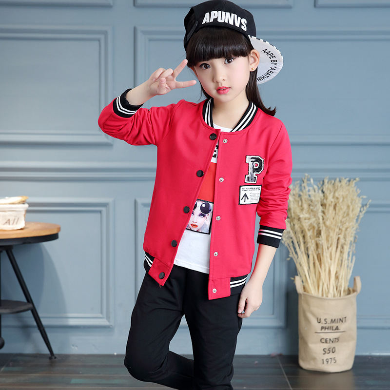 Children Sportswear Suit Tracksuits Baseball Uniform Sets For Girls Sports Suits Teenage Girls Jacket + Long Shirt + Pant Y821