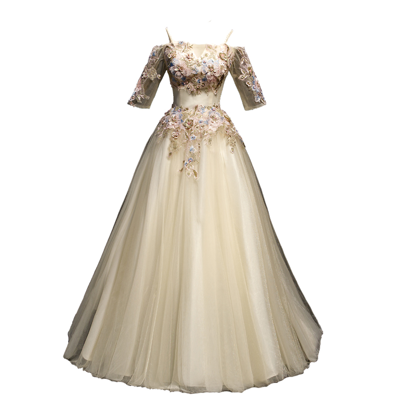 100%real embroidery beading champagne ball gown medieval dress princess Renaissance Gown queen Victoria/Antoinette/Belle Ball