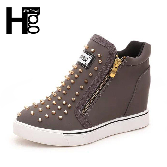 HEE GRAND Hot Sale Women's Wedges Shoes Zip Fashion PU Leather Height Increasing Casual Shoe With Rivets Size 36-40,XWC563