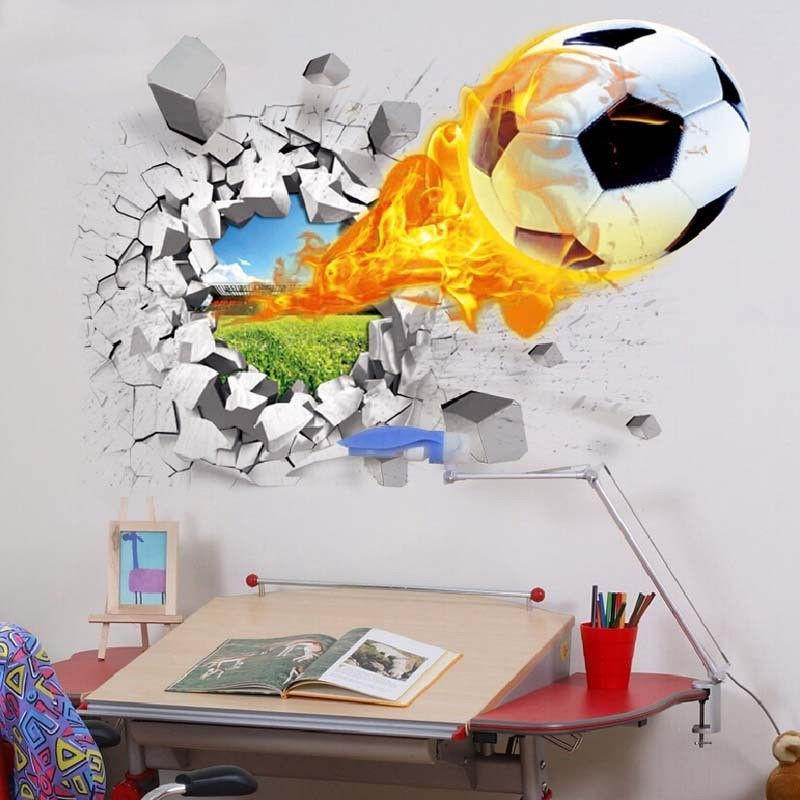 Football Through Wall Stickers Kids Room Decoration Home Decals Soccer Funs 3D Mural Art Sport Game PVC Poster