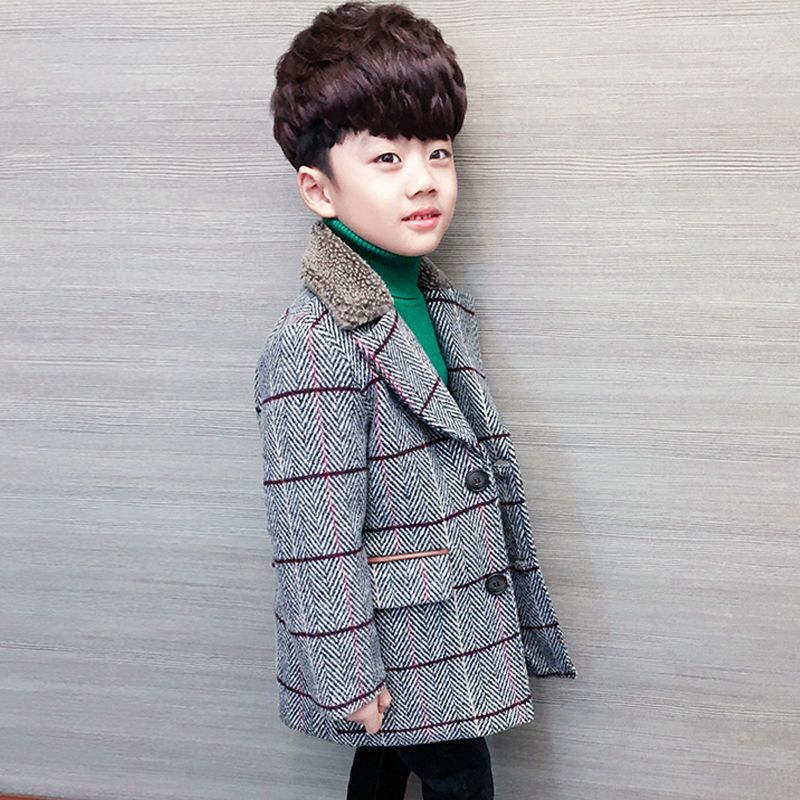 2019 Winter  Spring Boys Plus Velvet Thick Fashion Wool Coat