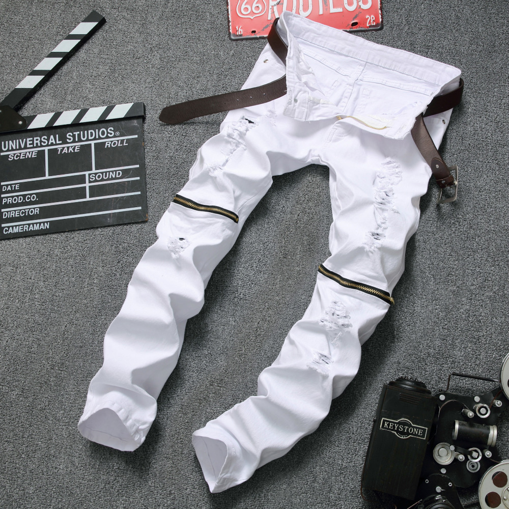 White Biker Jeans Mens 2017 Fashion Hip Hop Runway Distressed Slim Fit Stretch Denim Pants Joggers Skinny Jeans Homme mens skinny jeans men runway distressed slim elastic jeans denim biker jeans hip hop pants washed pleated jeans blue