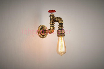 Loft Vintage Edison led wall light Personalized Bar Lighting Industrial Vintage Water Pipe wall light E27 Black/Antique Lamps