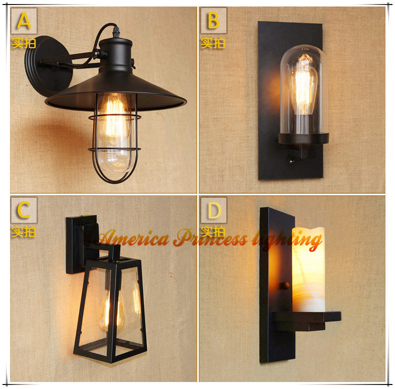 American country style loft living room wall light industrial warehouse aisle bedside bar decorated wall lamp,AC110-240V