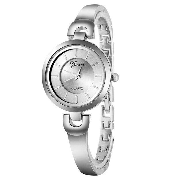 Vansvar Women Fashion Stainless Steel Band Analog Quartz Round Wrist Watch Watch