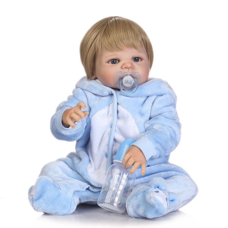 Babies Girl 22 Inch Full Silicone Vinyl Realistic Baby Doll Real Vinyl Dolls With Bottle Kids Bathing Toy