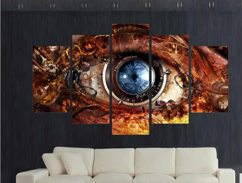 5pcs Home Decoration For Living Room Decor Wall Art Picture Printed Steampunk Abstract Eyes Canvas Painting Art Prints Canvas Painting Art Printdecoration For Living Room Aliexpress