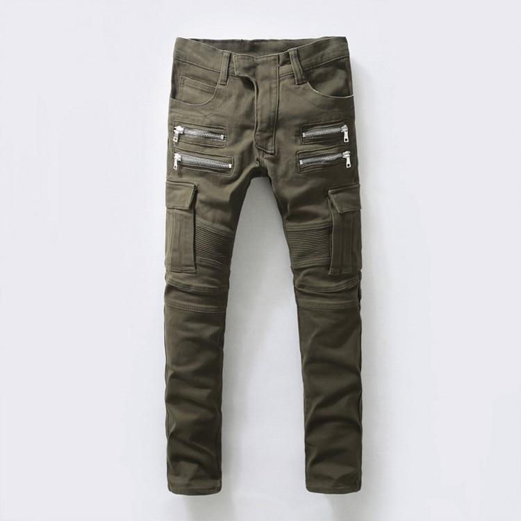 US Size Zipper Up Cargo Pants Men's Cool Army Green Biker ...