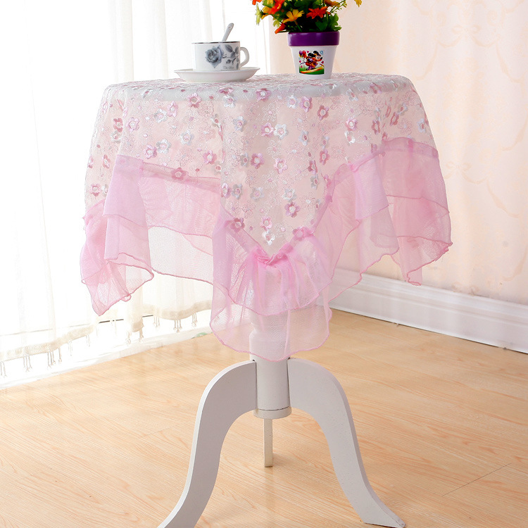 Double Glass Yarn Embroidery Lace Table Cloth Plum Color, Elegant  Three Dimensional Dust Cover