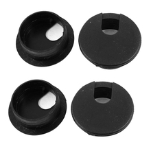 HOT GCZW-Desk Table Computer Round Shaped Black Cable Grommet Hole Cover 35mm 4Pcs