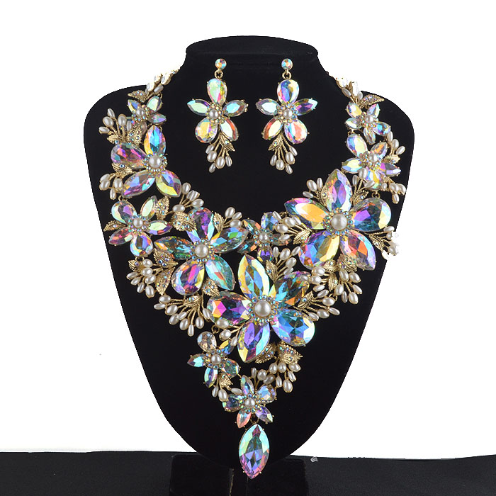 AB color Statement Jewelry sets Women Rhinestone crystal Pearl Big Flower Party Necklace earrings set Bridal Wedding Jewelry a suit of chic fake pearl rhinestone hollow out flower necklace and earrings for women
