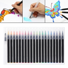 лучшая цена 20Pcs Writing Brush Calligraphy Cartoon Pen Color Soft Stationery Water Ink Set Painting Brush