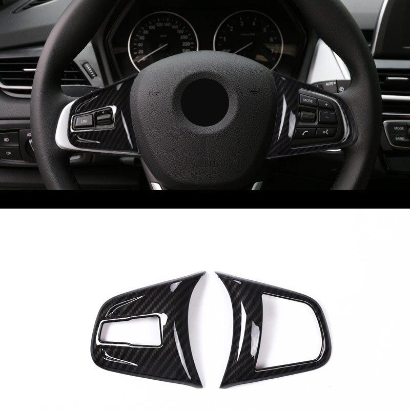En fiber de carbone Pour BMW 2 série 218i f45 F46 X1 F48 2016 2017 ABS Chrome Volant Bouton Cover Version pour BMW X2 F47 2018