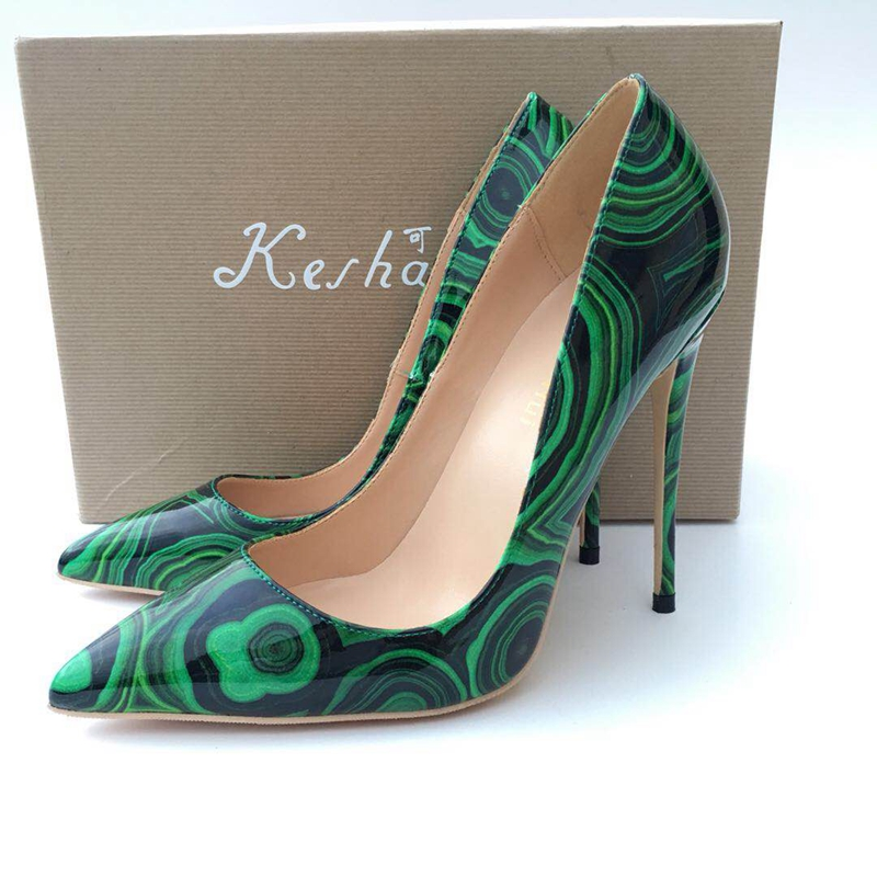2018 Green color pointed toe lady pumps pu leather shallow woman High heeled pumps sexy slip
