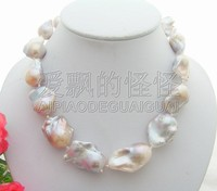 N112208 Natural 24x30MM Nucleated Flameball Keshi Pearl Necklace