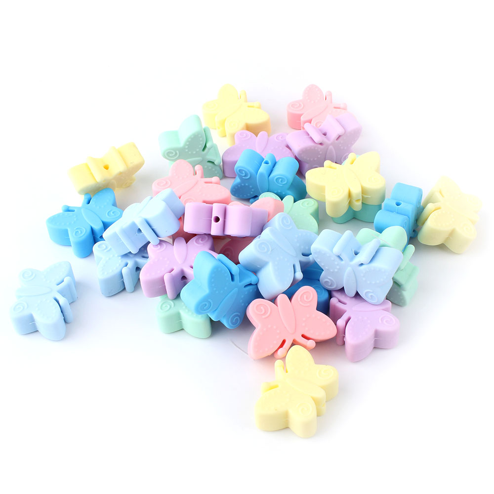 10pcs Colorful Silicon Butterfly Beads 30mm Silicone Teething Beads Accessories Silicone Rodent DIY Pacifier Chain Pendant