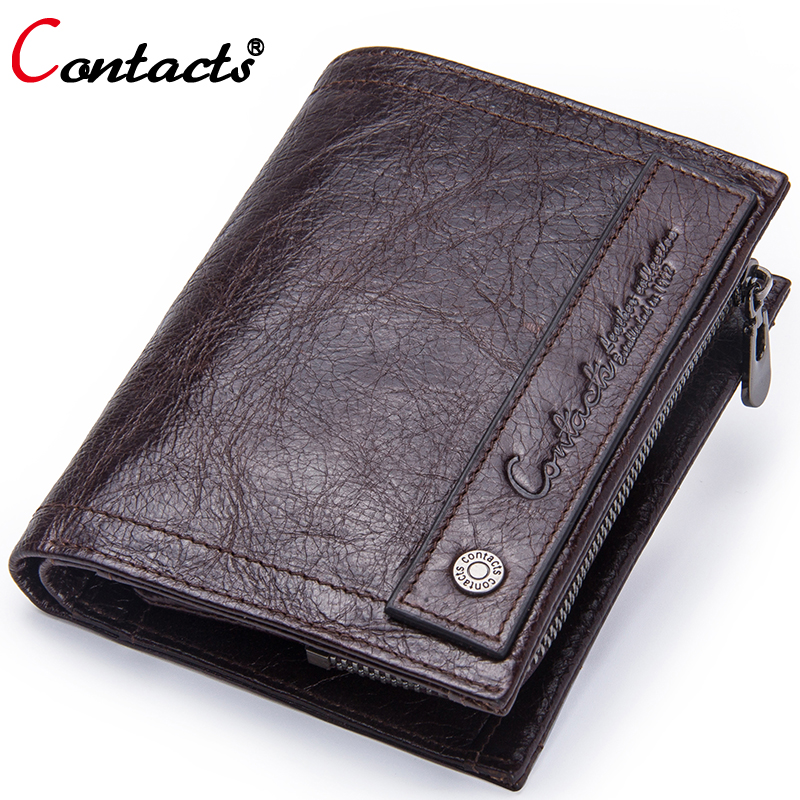 Contact's Brand Coin Purse Men Wallets Leather Genuine Clutch Male Wallet Small Money Bag Coin Pocket Walet Credit Card Holder