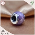 Auténtica Plata de Ley 925 Encantos de cristal Púrpura Perlas Pulsera Pulseira Joyería de moda Cadena de la Serpiente de las mujeres accesorios