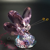 Free Shipping 1 pc Shinning Gem Cutting Crystal Glass Butterfly Home Wedding Table Decorations