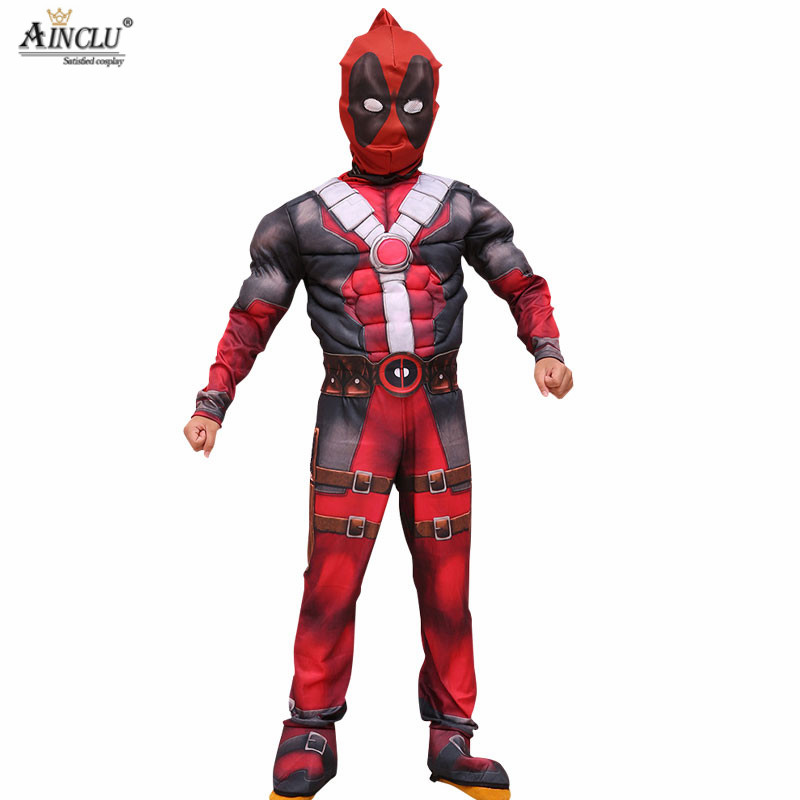 Ainclu superhero cosplay Muscle deadpool halloween costumes for kids children with mask onesie red Carnival avengers Fancy