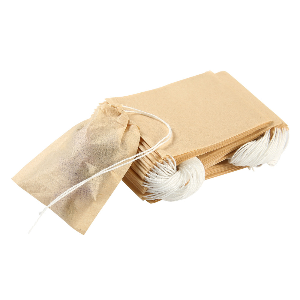 3 Sizes 100pcs/lot Tea Bag Filter Paper Bags Heat Seal Teabags Tea Strainer Infuser Wood Drawstring Tea Bag For Herb Loose Tea