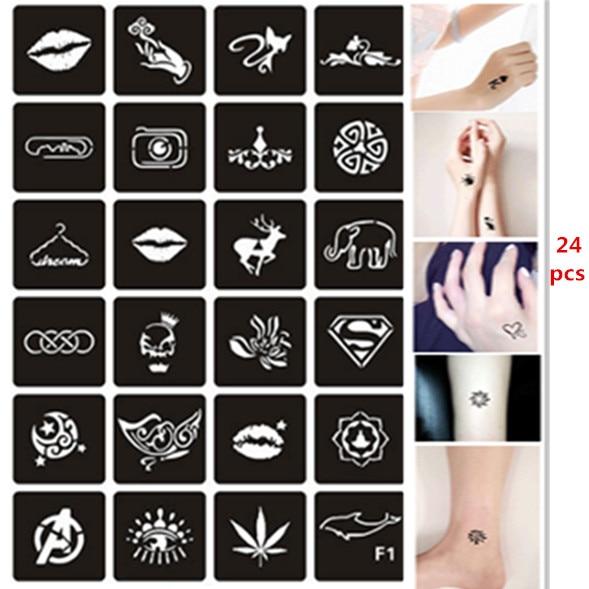 24pcs/set Henna Stencils for Painting Lips Cat Skull Butterfly Reusable Airbrush Stencil Glitter Tattoo Sjablonen