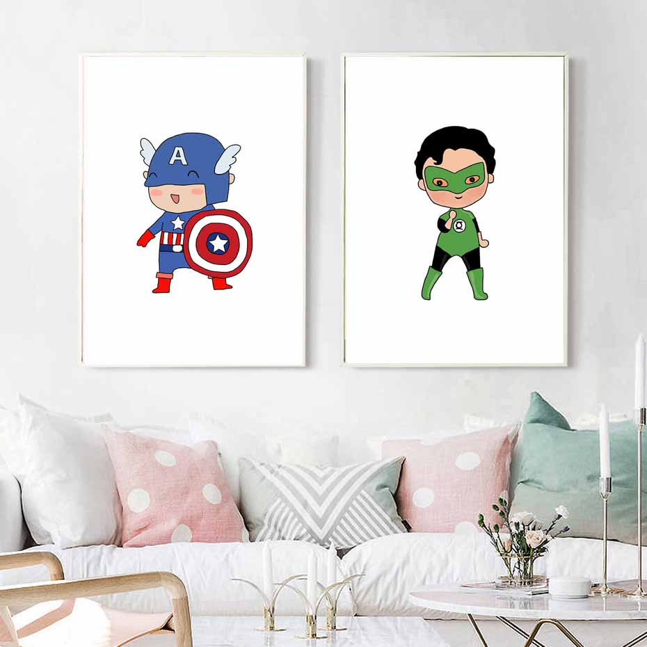 Superhero Captain America Print And Poster Batman Wall Art Kids Boys Room Home Marvel Avengers Movie Posters With Free Shipping Worldwide Weposters Com