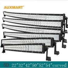 Auxmart 5D 22″ 32″ 42″ 50″ 52″ 54″ curved LED light bar 12v 24v combo beam LED Bar Offroad camper truck 4×4 4WD SUV ATV Barra