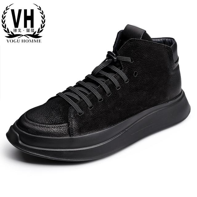 Musim gugur sepatu fashion pria kulit hitam tebal bawah tren Korea pria  Inggris sepatu kasual semua 009ee727bc