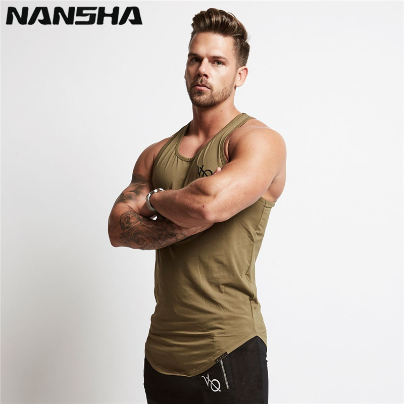 NANSHA Mens Sleeveless   Tank     Tops   Summer Print VQ Cotton Male   Tank     Tops   gyms Clothing Bodybuilding Undershirt Golds Fitness   tank