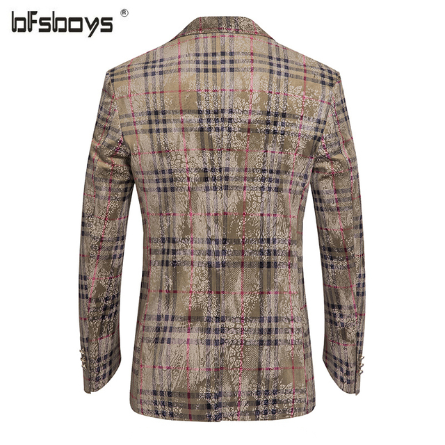 High Quality 2016 New arrival England grid printing  Men's Causal Blazers Single button Fashion blazers Suits For Men Plus Size