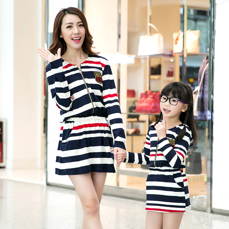 Mother Daughter Dresses Mother and Baby Girl Clothes Family Matching Outfits Mother and Daughter Autumn Outwear Stripe Dress