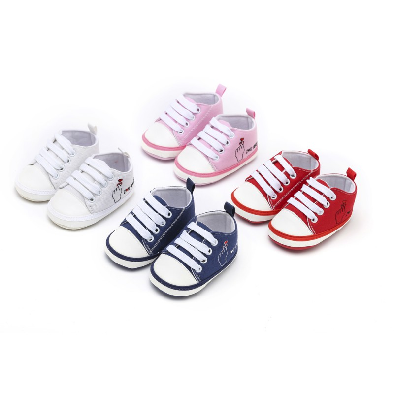 Baby Shoes Boy Girl Soft Sole First Walkers Toddler Infant Letter Pattern Casual Canvas Sneaker Forborn