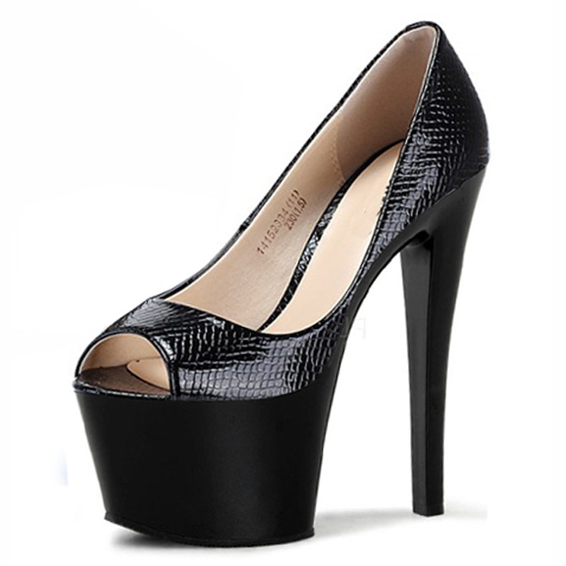 The new party platform peep toe <font><b>high</b></font> <font><b>heel</b></font> shoes <font><b>17cm</b></font> <font><b>high</b></font> <font><b>sexy</b></font> black shoes image