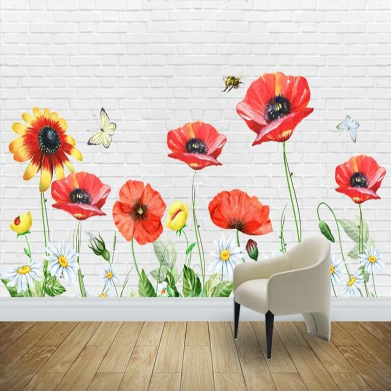 Flower Wallpaper Photo Wallpaper Minimalistic Hand Painted Baby Wallpapers Kids Wall Papers Living Room Sofa Backdrop Photo Wall statue