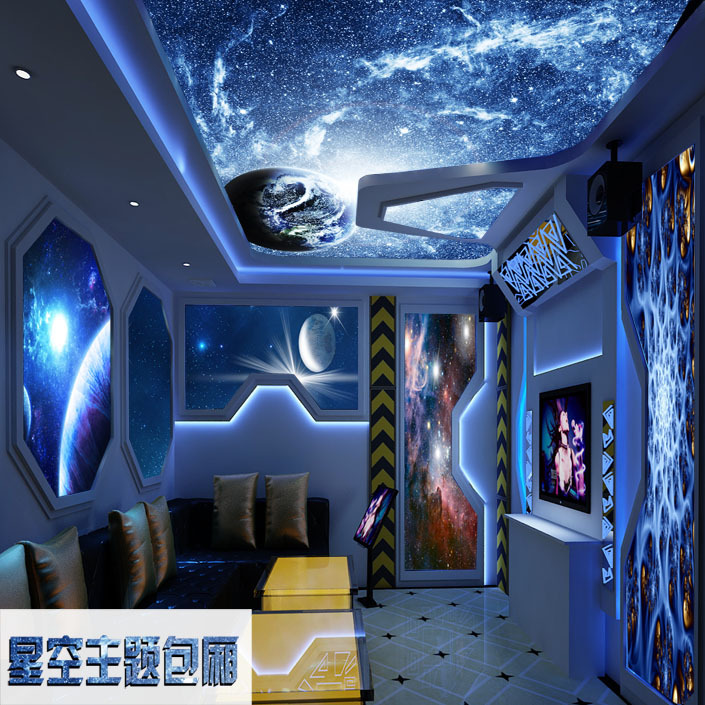 free shipping 2 large living room ceiling fresco blue 3d stereo
