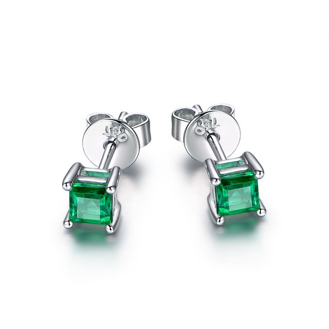 Emerald Ear Studs 18k Yellow White Rose Gold Earring Bridal For Party Trendy