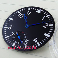 38 9mm Parnis schwarz zifferblatt blau hände fit 6498 bewegung herren Uhr zifferblatt + hand-in Zifferblätter aus Uhren bei