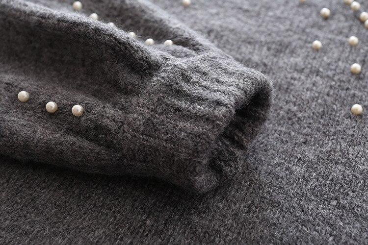 75099d236c5e Pearl Beaded Rib Knit Jumper Winter Sweater Womens Pullover Sweaters G