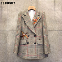 Blazer Women Vintage Double Breasted Office Plaid Blazer Long Sleeve Houndstooth Embroidery Suit Jacket Women blazers 2019