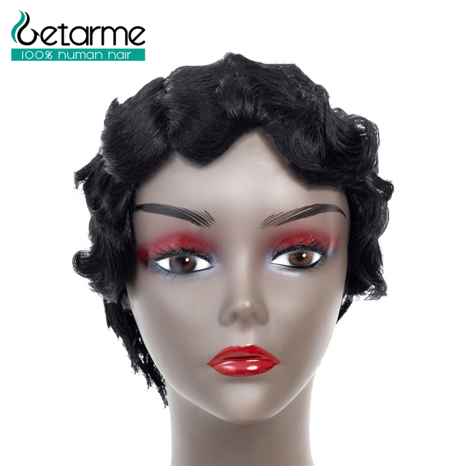 Getarme Hair Pixie Cut Wig Peruvian Non Remy Hair Bob Wigs For Black Woman Finger Wavy Wigs Short Human Hair Wigs Color 1B