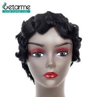 Getarme Hair Pixie Cut Wig Peruvian Non Remy Hair Bob Wigs For Black Woman Finger Wavy Wigs Short Human Hair Wigs Color 1B