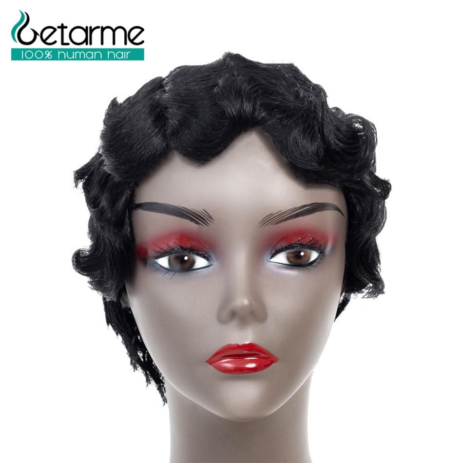 Getarme Hair Short Finger Wavy Wigs Bob Wigs Pixie Cut Wig For Black Woman Brazilian Non Remy Hair Short Human Hair Wigs