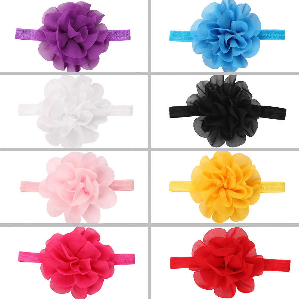 Chiffon flor bebé niña diadema accesorio para el cabello infantil tela lazos sombrero recién nacido tiara regalo niños cinta vendaje cinta