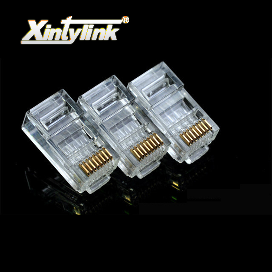 xintylink rj45 connector rj45 plug cat6 8p8c gold plated unshielded modular terminals utp ethernet network connector 100/1000pcs rj45 connector cat5 cat6 lan ethernet splitter adapter 8p8c network modular plug for pc laptop 10pcs aqjg