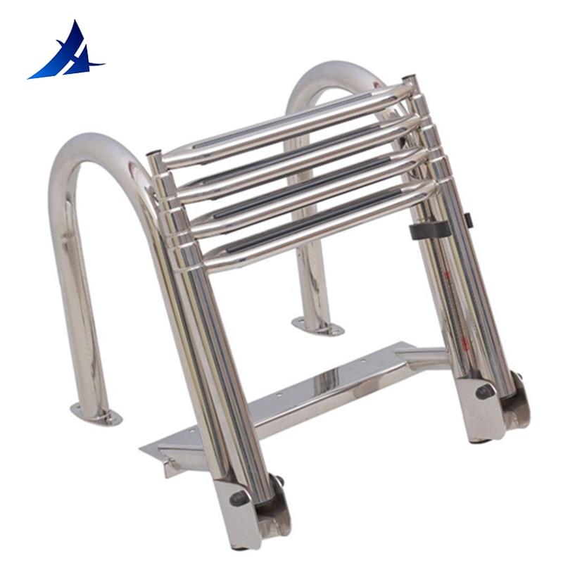 Stainless Steel Telescoping 4 Step Boat Ladder Pool Swim Upper Platform Dock Swimming Ladder